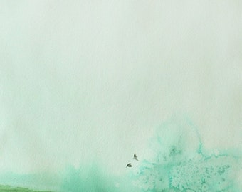 Landscape Painting with Birds - Wall Decor - Delicate - 11x14 Giclee Print  - Green Sky Birds