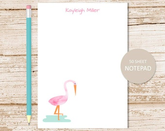 personalized flamingo notepad . watercolor flamingo note pad . personalized stationery . stationary . tropical bird notepad