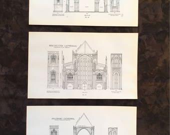 Vintage blueprints etsy 1928 architectural illustration vintage book page blueprints historic structure building black and white design cathedral print malvernweather Gallery