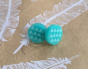 Hypoallergenic Stud Earrings with Titanium Posts - Round Aqua Etched Tiny Triangles - Sensitive Ears