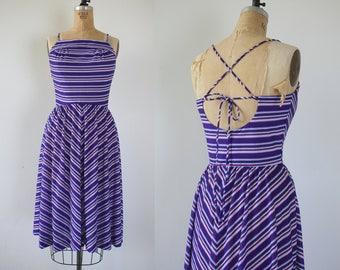 vintage 1970s dress / 70s sundress / early 80s sundress / 80s purple striped dress / 70s backless sun dress / 1980s open back dress / s med