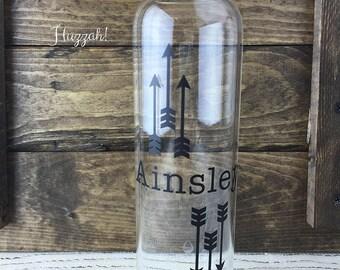 Arrows Personalized Glass Water Bottle