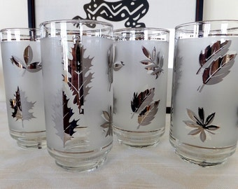 Set of 8 Libbey Mid Century Frosted High Ball Glasses with Silver Leaves - Silver Foliage - Hollywood Regency Tumblers - Retro Cocktails