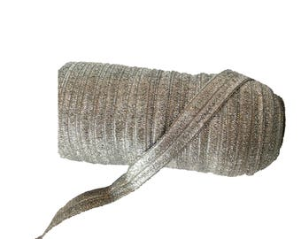 """Charcoal Gray with Silver Sparkle ~ FOE ~ Fold Over Elastic ~ 5/8"""" ~ Metallic ~ Headbands ~ Trim ~ Shimmer ~ 5/8 inch"""