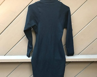 80s Turtleneck Long Sleeve Fitted Sweater Dress