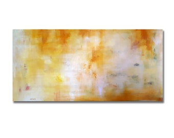 Large Original Abstract Painting Yellow Gold Modern Landscape Acrylic Painting UNSTRETCHED Rolled in a tube 24x50""