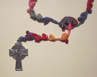 Multicolored (#11) crocheted rosary in bright colors