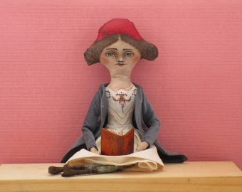 Clara,  Textile Art Doll, Vintage Doll, Cloth Doll, Posable Doll, OOAK Doll, handpainted doll, Collectible, Wall Art