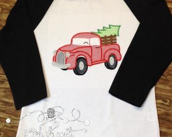 Raglan Tee Boy's Christmas shirt, Rustic Truck, Christmas Tree, Boys Holiday shirt, Boys Truck shirt, Christmas tree truck