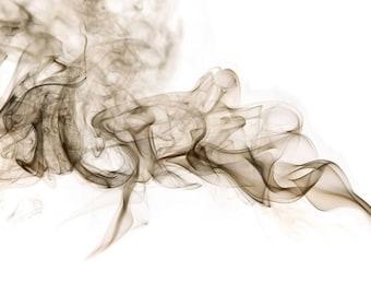 Smoke Patterns Inverted Fine Art Photo Print, Mod art Decor, Modern Art Photography, Wall Art