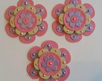 Flower Scrapbooking Embellishments Set of 3, Card Making, Scrapbooking, Tags, Flower Die Cuts