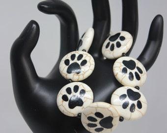Paw Print Black White Quartzite Onyx Bracelet