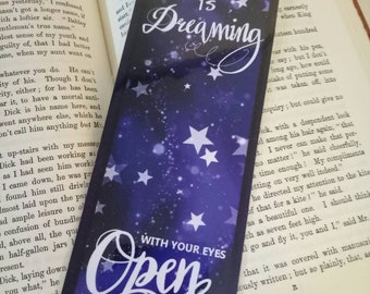 Reading is dreaming with your eyes open bookmark, quote reading quote, stars, galaxy, purple bookmark.