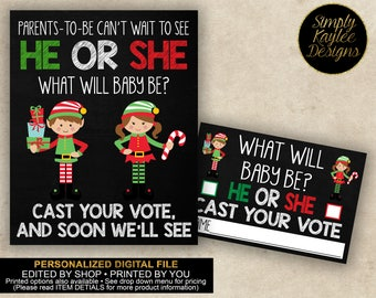 DIGITAL Elf He or She Gender Reveal Party Voting Game