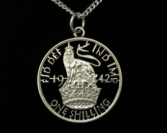 1942 George VI Silver Shilling - Cut Out Coin Necklace