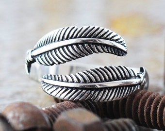Silver Feather Ring Sterling Unique Womens and Mens Jewelry