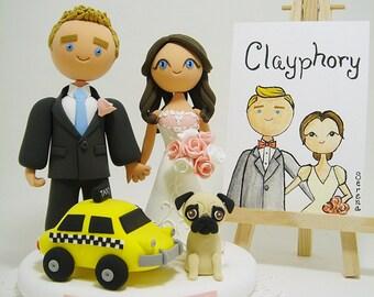 New York city theme-Yellow cab with dog custom wedding cake topper
