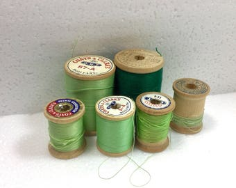 Shades of Green Thread Lot, Wooden Sewing Spools