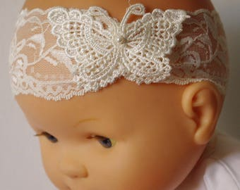Large ivory Butterfly headband