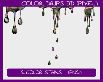 Color Drips 3D (Pixel), 12 color spots as pixel graphics: png files with transparent background, colour stain spot patch *** DOWNLOAD ***
