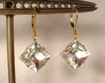 Vintage Wedding Bridesmaids Earrings, Art Deco Rhinestone Gold Bridal Dangle Earrings Flapper Great Gatsby Downton Square Jewelry 1920 Gift