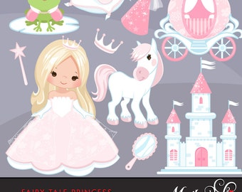 Fairy Tale Princess Clipart. Fairy Tale characters, princess carriage, tiara, frog prince, princess castle, cookie cutters, planner stickers