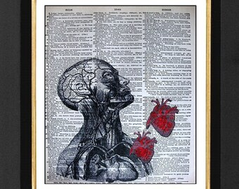 Anatomical Heart, Anatomical, Heart Cardiology, Anatomical Artwork, Anatomical Heart Art, Mixed Media Print, 8x10, Dictionary Book Page,