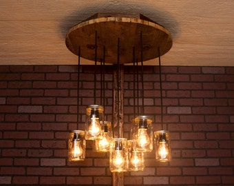 Mason Jar Lights With Reclaimed Wood and 10 Pendants. R-26C-CMJ-10 Handmade