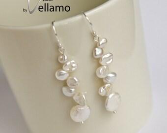 Keshi pearl sterling silver earrings with white reborn Keshi pearls, delicate keishi pearl earrings, long white pearl bridal earrings