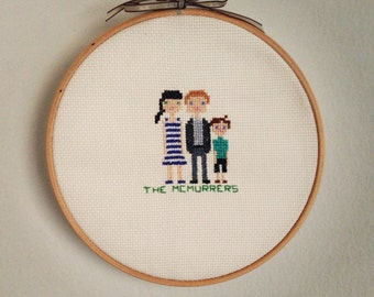 Personalized Family Cross Stitch with Embroidery Hoop