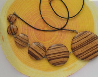 6 washers in zebrano, black leather cord necklace