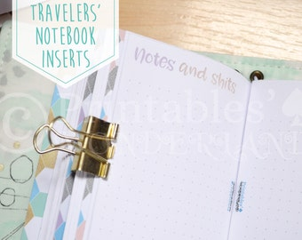Pocket size TN notes inserts printable - Travelers' notebook inserts instant download - Dotted pages inserts pocket - Metalic TN