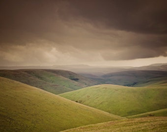Landscape Photograph Storm Clouds Green Rolling Hills Photo Neutral Colors Pastel Green nat100