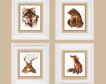 WOODLAND prints, childrens art, ready to frame, watercolor, watercolour animal art
