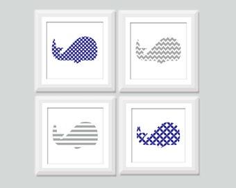 Square Whale Nursery Art Set of 4, Nautical Nursery Decor, Baby Boy Whale Prints, Nautical Kids Art, Whale Nursery, Nautical Decor
