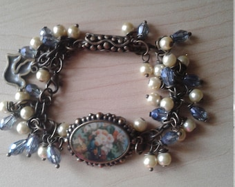 Antique Brass Bracelet w/Swarovski Pearls and Crystals