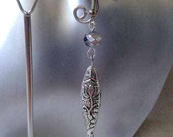 "Earrings ""engraved silver fish"""