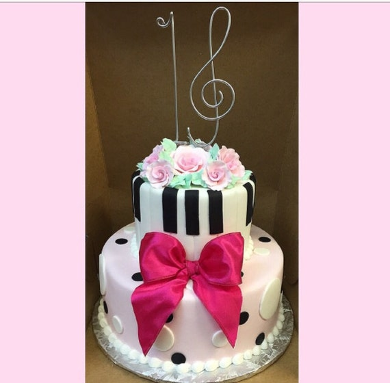 Sweet 16 musical cake topper Sixteen birthday decoration Treble Clef