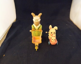 Two Tomy Wind Up Bunnies Easter Bunny
