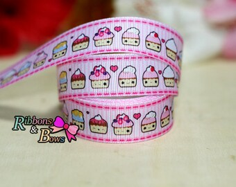 """Pink Cup Cake Grosgrain Ribbon 7/8"""", Pink Cup Cake Ribbon, 7/8""""  Pink Cup Cake  Ribbon"""