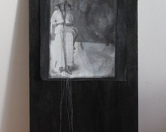 The Retreat - Original Mixed Media Fabric art Textile art Vintage Image of a woman with string falling from her hat B&W OOAK