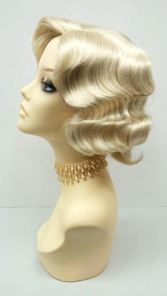 1920 S Style Short Blonde Finger Wave Wig Vintage Style