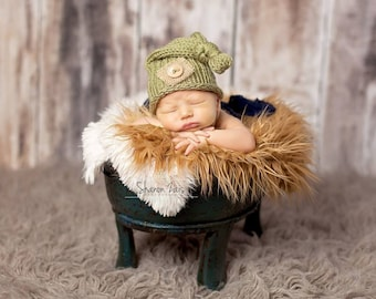 Sage Green Burlap Baby Newborn Knit Hat Photography Prop