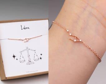 Libra bracelet, horoscope bracelet, constellation bracelet, zodiac jewelry, horoscope jewelry, libra jewelry, zodiac bracelet, sister gift