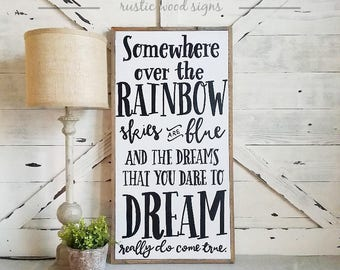 Somewhere over the rainbow / Wizard of Oz / Wood Sign / Framed / 17 x 33 / Children's wall art / playroom / Industrial chic / Farmhouse