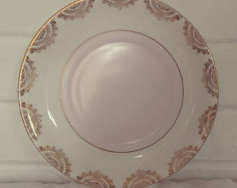 Stunning Vintage English Bone China Baby Pink and Gold Detail Bone China Cake Plate - Perfect for afternoon tea