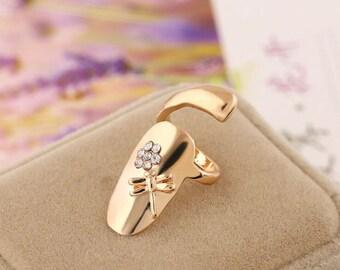 Dragonfly nail ring, finger tip ring, fake nail ring, gold dragonfly nail ring, silver dragonfly nail ring