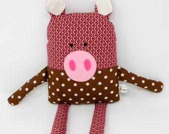 Pig Stuffed Animal-Pig Plush-Pig Softie-Pig Lovey-Pig-UpCycled-Repurposed-Hand Sewn Toy-Child Birthday Gift-Pig Toy-Hog-Swine-Toddler Gift