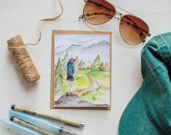 Hiking Girl Watercolor Note Card