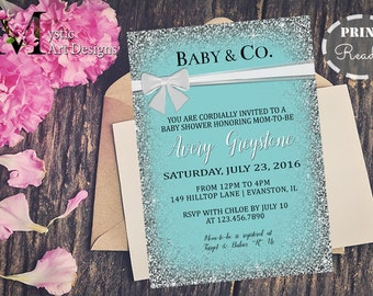 Baby And Co Baby Shower Invitation, Girl Baby Shower, Printable, Customized,  Baby